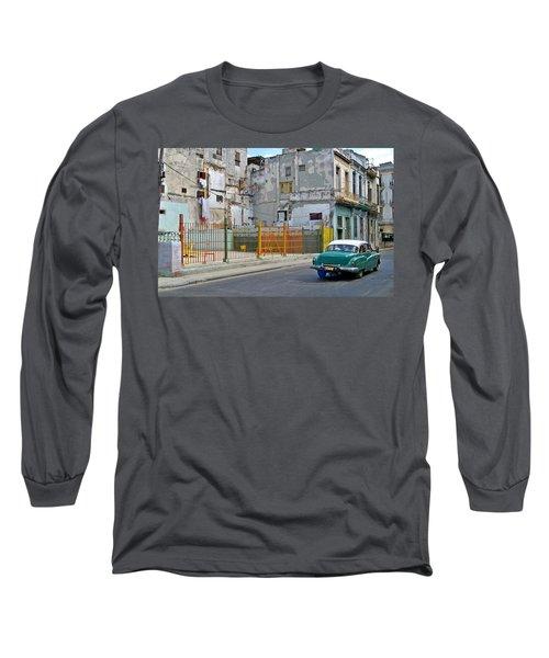 Long Sleeve T-Shirt featuring the photograph Cuba Vintage American Car  by Lynn Bolt