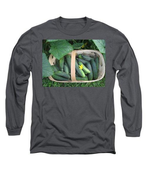Cucumbers In Garden Basket Long Sleeve T-Shirt