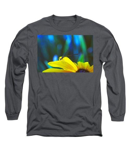 Daisy And Dragonfly Long Sleeve T-Shirt by Kay Lovingood