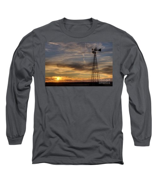 Dark Sunset With Windmill Long Sleeve T-Shirt