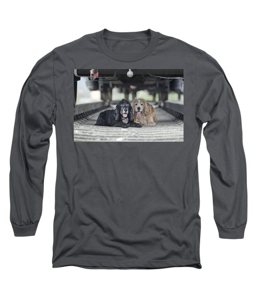 Dogs Lying Under A Train Wagon Long Sleeve T-Shirt