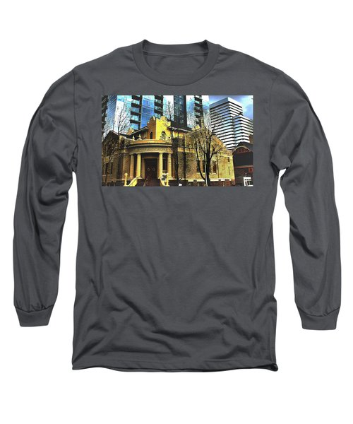 Long Sleeve T-Shirt featuring the mixed media Encroached by Terence Morrissey