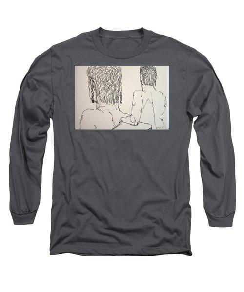 Female Nude Beside Herself Long Sleeve T-Shirt by Rand Swift