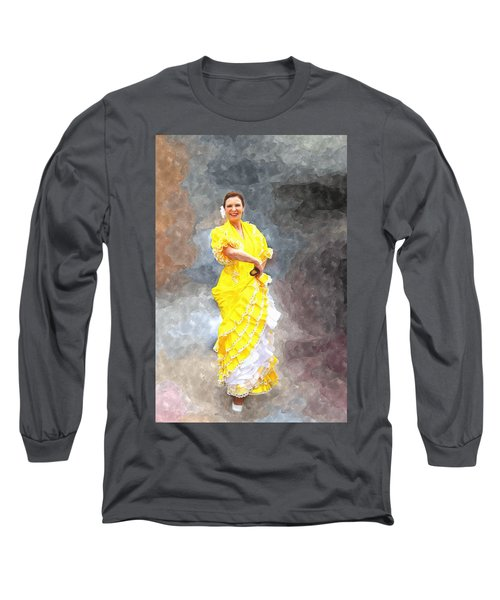 Long Sleeve T-Shirt featuring the photograph Flamenco Dancer In Yellow by Davandra Cribbie