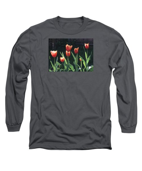 Flared Red Yellow Tulips Long Sleeve T-Shirt
