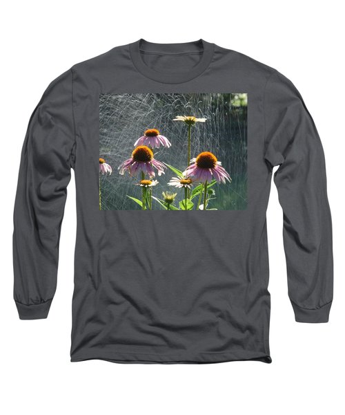 Flowers In The Rain Long Sleeve T-Shirt by Randy J Heath