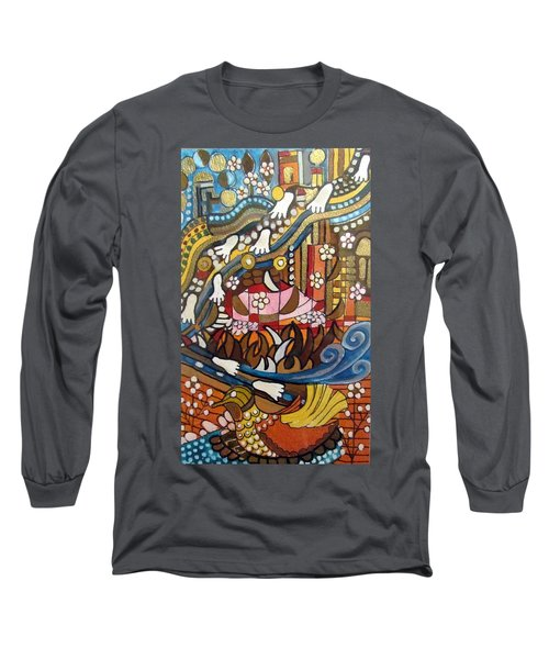 Footsteps To Peace Colorful Abstract Symbolism With Urban Cityscape Path Tracks Bird Dove Long Sleeve T-Shirt by Rachel Hershkovitz