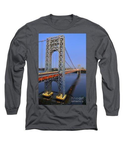 George Washington Bridge At Twilight Long Sleeve T-Shirt by Zawhaus Photography
