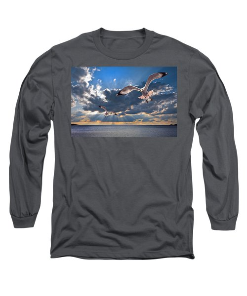 Greek Gulls With Sunbeams Long Sleeve T-Shirt