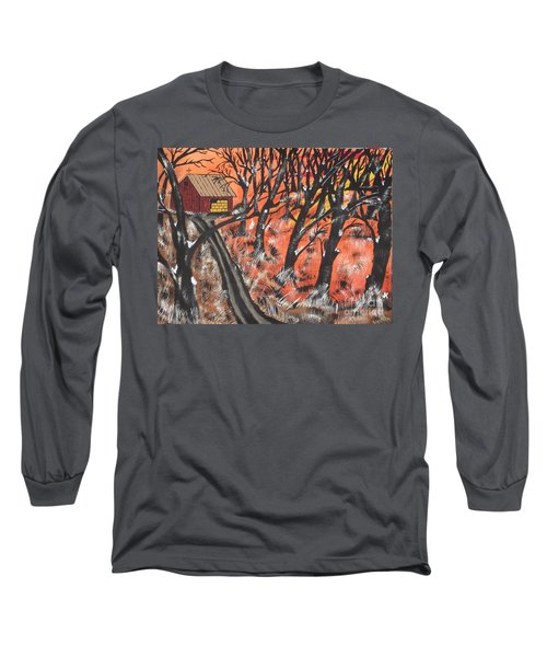 Long Sleeve T-Shirt featuring the painting Hazy Shade Of Winter by Jeffrey Koss