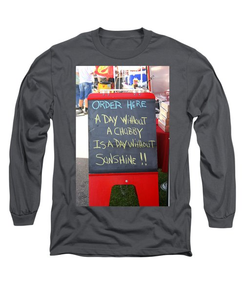 Long Sleeve T-Shirt featuring the photograph Hot Dog Stand Humor by Kay Novy