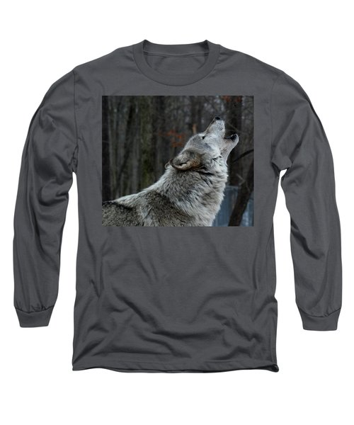 Howling Tundra Wolf Long Sleeve T-Shirt by Richard Bryce and Family