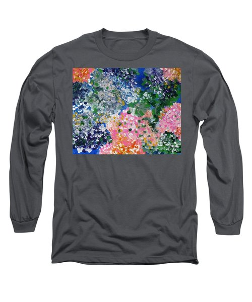 Long Sleeve T-Shirt featuring the painting Hydrangeas I by Alys Caviness-Gober