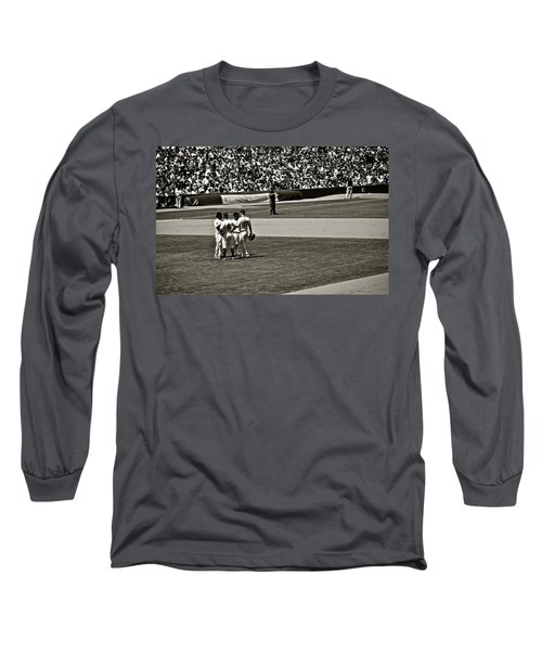 Long Sleeve T-Shirt featuring the photograph Infield Meeting by Eric Tressler