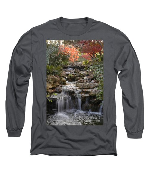 Waterfall In The Japanese Gardens, Ft. Worth, Texas Long Sleeve T-Shirt