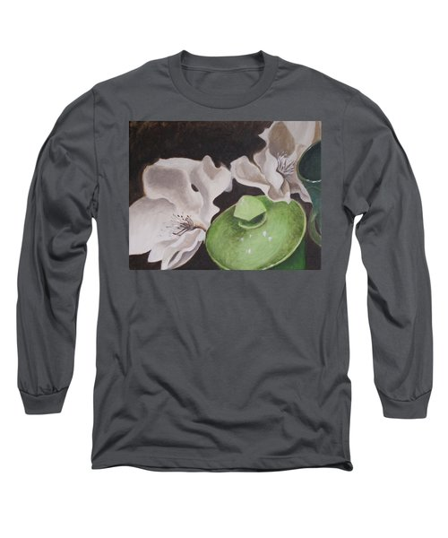 Magnolias With Green Sugar Bowl Long Sleeve T-Shirt