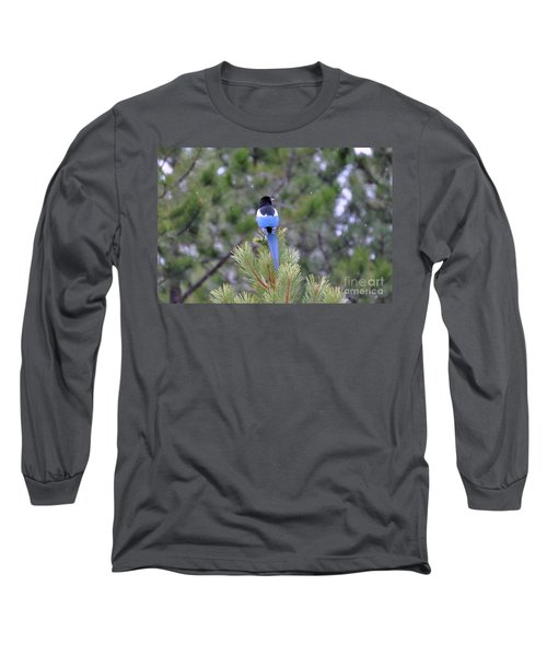 Magpie In Snow Long Sleeve T-Shirt