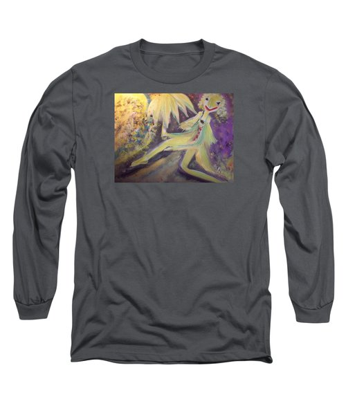 Man In The Moon Long Sleeve T-Shirt by Judith Desrosiers
