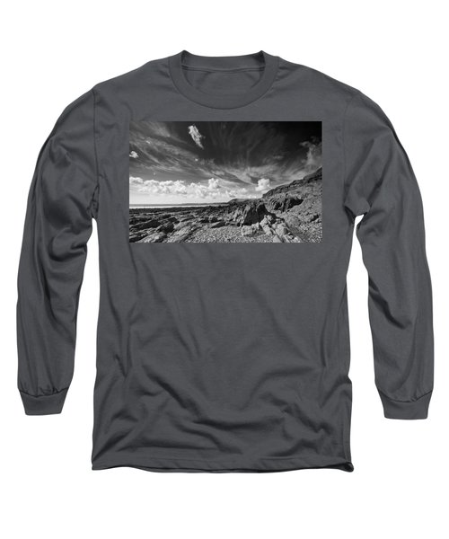 Long Sleeve T-Shirt featuring the photograph Manorbier Rocks by Steve Purnell