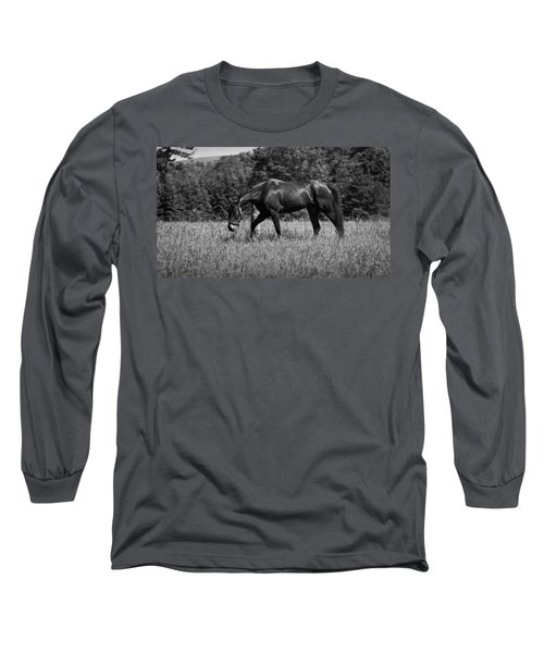 Long Sleeve T-Shirt featuring the photograph Mare In Field by Davandra Cribbie