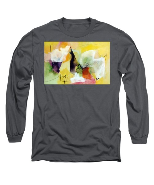 Modern Art With Yellow Black Red And Fanciful Clouds Long Sleeve T-Shirt
