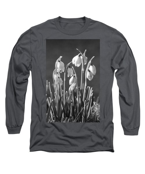Long Sleeve T-Shirt featuring the photograph Mono Snowdrops by Lynn Bolt
