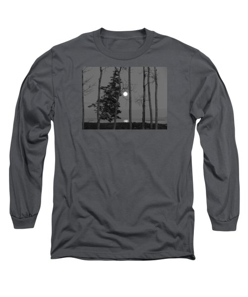 Long Sleeve T-Shirt featuring the photograph Moon Birches Black And White by Francine Frank