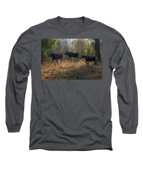 Moose Family Long Sleeve T-Shirt by Ronald Lutz