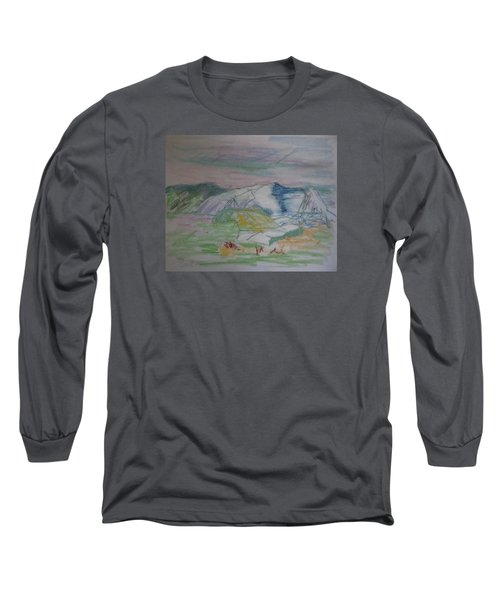 Long Sleeve T-Shirt featuring the painting Mount Desert Back Side by Francine Frank