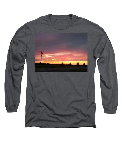 Nebraska Sunset Long Sleeve T-Shirt by Adam Cornelison