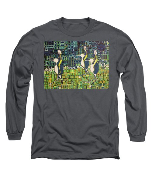 Long Sleeve T-Shirt featuring the painting New Moon Penguin Races by Donna Howard