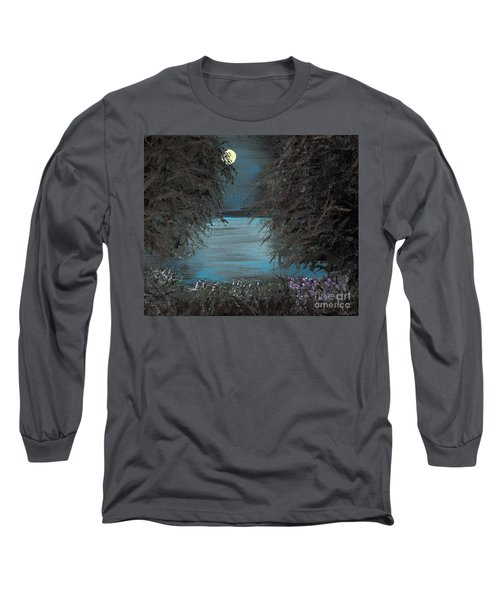 Long Sleeve T-Shirt featuring the painting Night In The Bayou by Alys Caviness-Gober