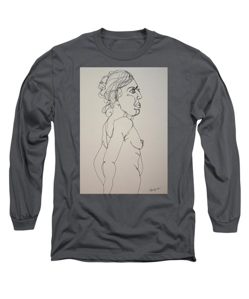 Nude Girl In Contour Long Sleeve T-Shirt by Rand Swift