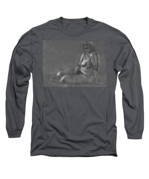 Nude Of A Real Woman In Black Long Sleeve T-Shirt by Rachel Hershkovitz