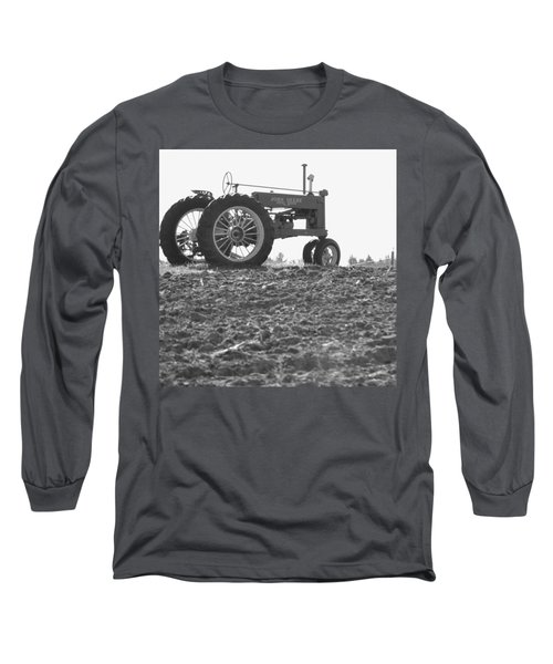 Old Tractor II In Black-and-white Long Sleeve T-Shirt