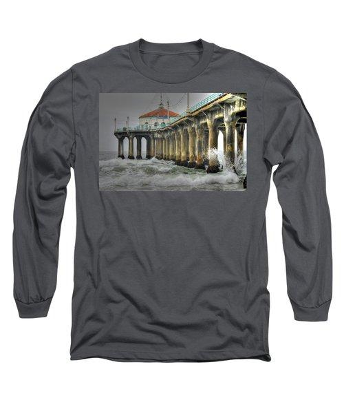 Overcast Manhattan Beach Pier Long Sleeve T-Shirt