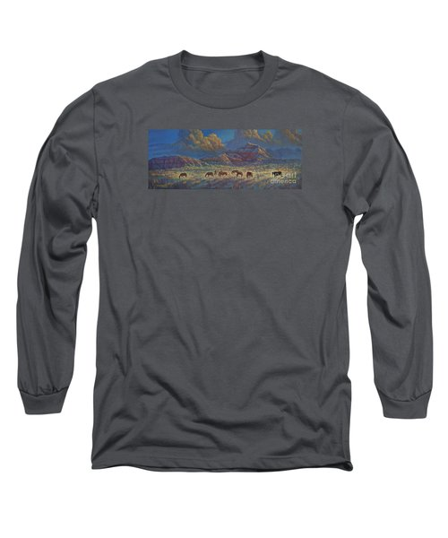 Long Sleeve T-Shirt featuring the painting Painted Desert Painted Horses by Rob Corsetti