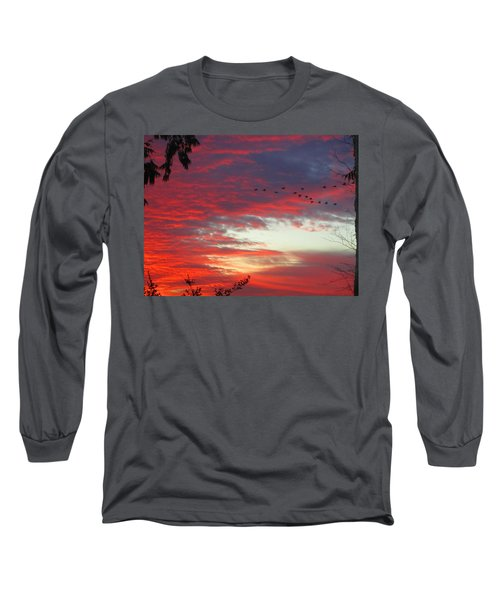 Long Sleeve T-Shirt featuring the photograph Papaya Colored Sunset With Geese by Kym Backland