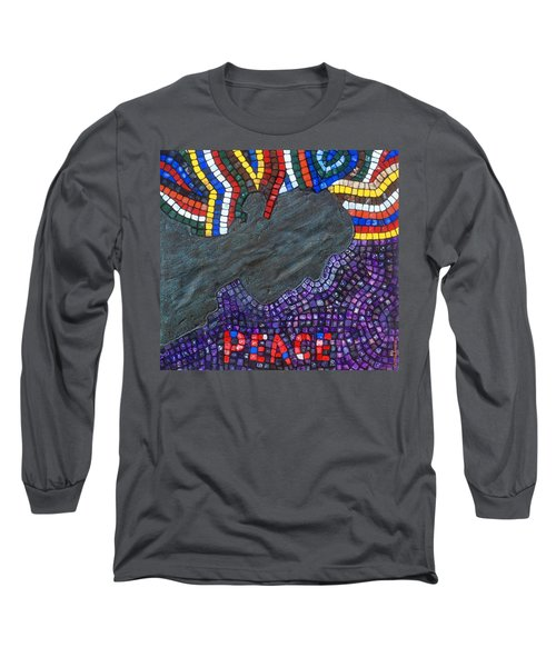 Long Sleeve T-Shirt featuring the painting Peace Man by Cynthia Amaral