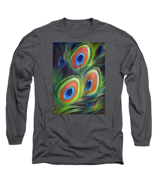 Peacock Feathers Long Sleeve T-Shirt by Nancy Tilles