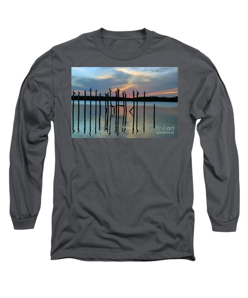 Long Sleeve T-Shirt featuring the photograph Pelican Resting End Of Day by Dan Friend