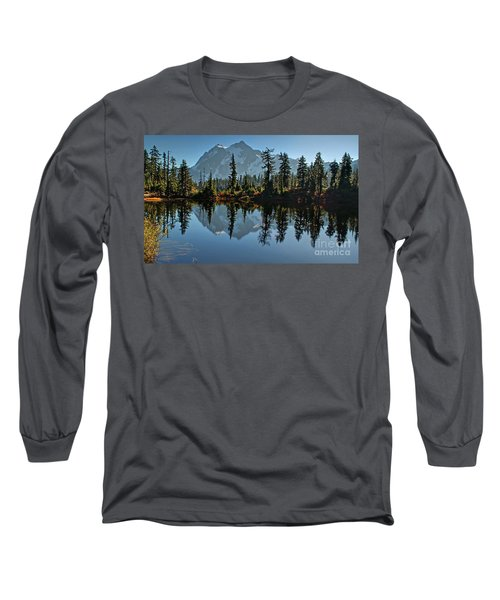 Picture Lake - Heather Meadows Landscape In Autumn Art Prints Long Sleeve T-Shirt by Valerie Garner