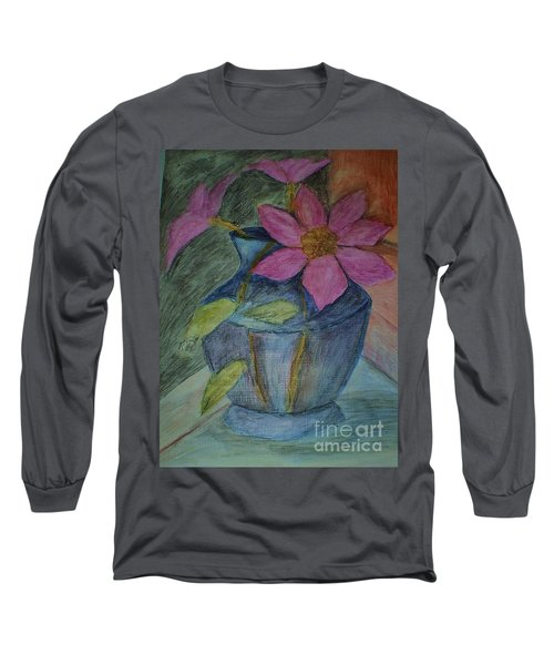 Pink Flowers In Blue Vase Long Sleeve T-Shirt by Christy Saunders Church