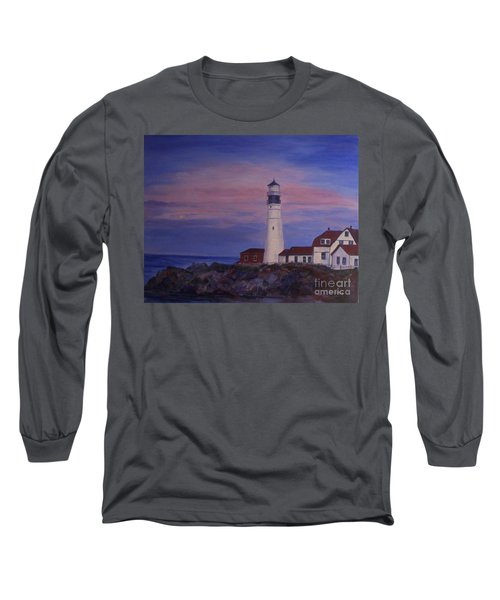 Long Sleeve T-Shirt featuring the painting Portland Head Lighthouse At Dawn by Julie Brugh Riffey