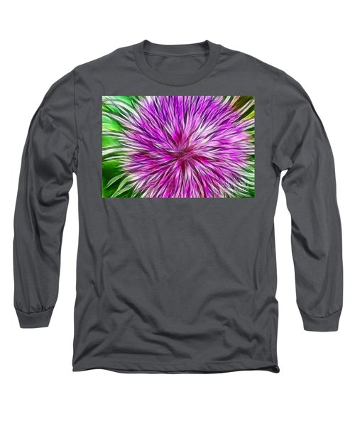 Purple Flower Fractal Long Sleeve T-Shirt