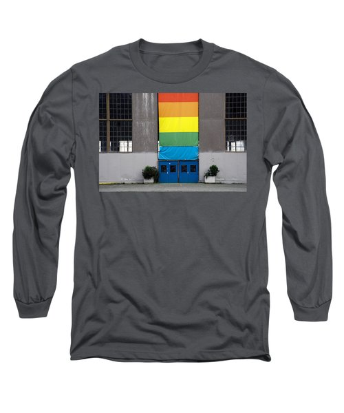 Long Sleeve T-Shirt featuring the photograph Rainbow Banner Building by Kathleen Grace