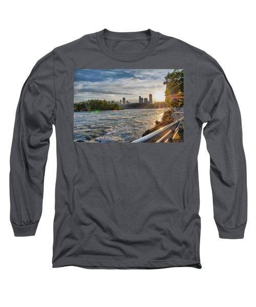 Long Sleeve T-Shirt featuring the photograph Rapids Sunset by Michael Frank Jr