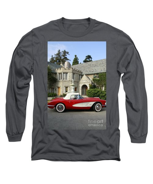 Red Corvette Outside The Playboy Mansion Long Sleeve T-Shirt
