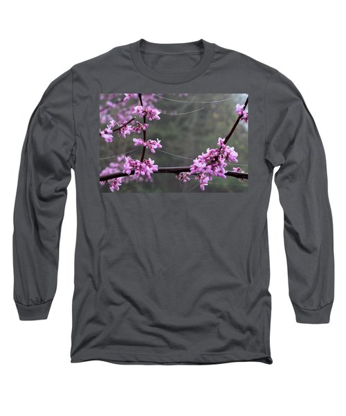 Redbud With Webs And Dew Long Sleeve T-Shirt