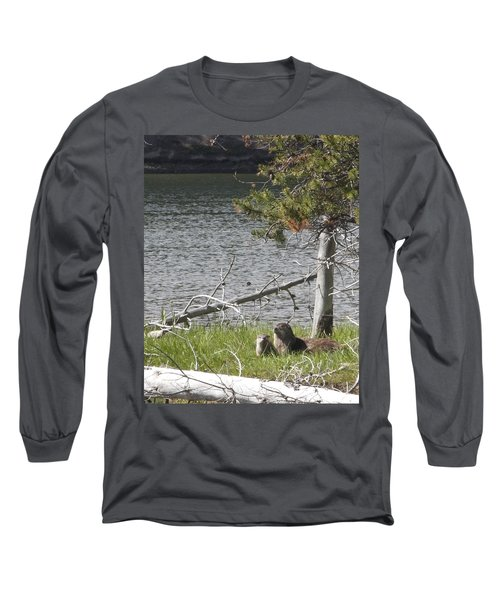 Long Sleeve T-Shirt featuring the photograph River Otter by Belinda Greb